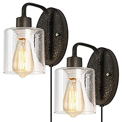 Bathroom Vanity Light Fixtures, Farmhouse Plug in Wall Lamps, Industrial Wall Sconces with Glass Shade for Powder Room, Hallway, Mirror, Laundry Room, Set of 2