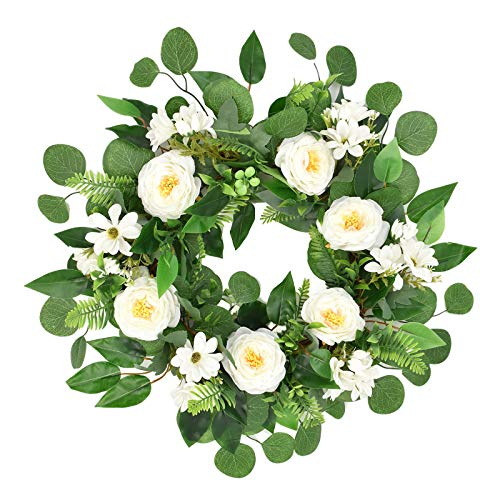 Fenteer Floral Wreath, Door Wreaths, 45cm/18 inches Artificial White Peony Rattan Spring Flowers Wreath for Front Door, Wedding Decoration Wall Decor
