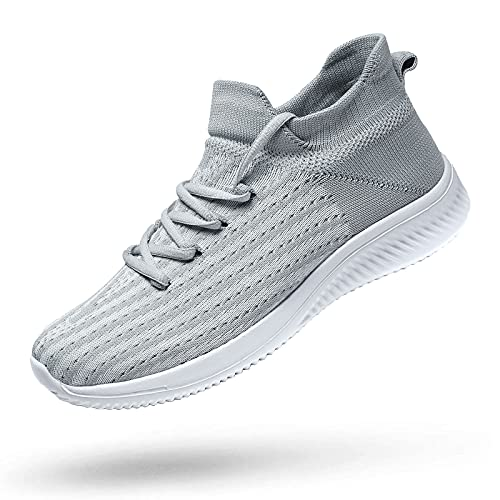 koppu Womens Mens Running Shoes Lightweight Breathable Non Slip Walking Shoes Tennis Shoes Slip on Gym Sneakers Grey