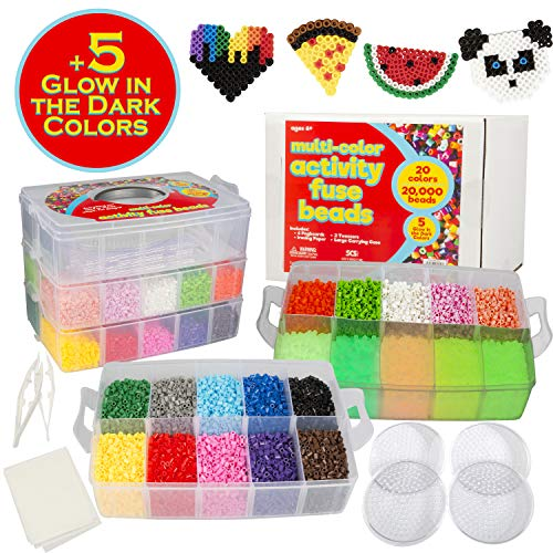 20,000 Fuse Beads - 20 Colors (5 Glow in The Dark), Tweezers, Peg Boards, Ironing Paper, Case - Works with Perler Beads, Pixel Art Project