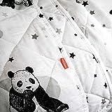 Happy Linen Company Colcha Infantil Reversible - Panda - Diseño Blanco Liso