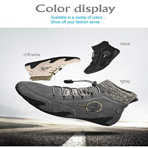 Mens Snow Boots Winter Warm Ankle Boots Casual Fur Lined Safety Boots Hiking Boots Walking Trekking Shoes Knitted Ankle…