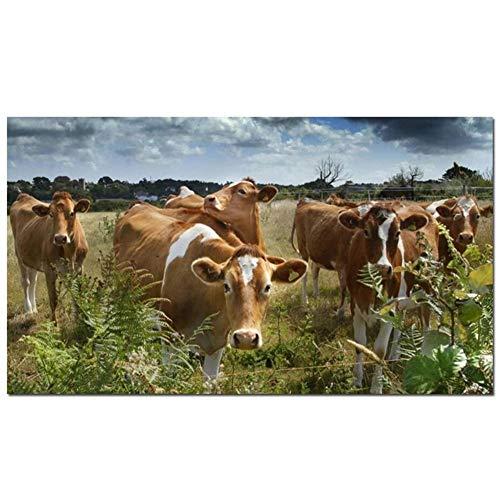 DIY 5D Large Diamond Painting Vaca de animales de granja Kits de Perforación Completos Rhinestone Picture Art Craft para decoración de la Pared del hogar 70x200cm Square Drill