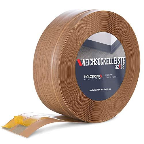 HOLZBRINK Rodapiés flexible autoadhesivo Roble Claro Rodapiés flexible 32x23 mm, 5 m Zócalo Autoadhesivo