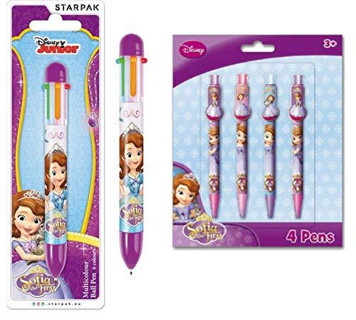 5er Set, 1x 6 Farben Stift Kugelschreiber + 4X Kugelschreiber mit Clip, kompatibel zu Disney Sofia die Erste | Geschenk für Kinder | Mädchen | Malen | Malstift |