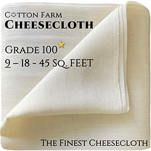 Cotton Farm - Grade 100 (The Finest) Premium Quality Cheesecloth,%100 Mediterranean Cotton, 9-18-45...
