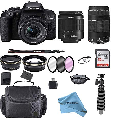 Canon EOS Rebel 800D (T7i) DSLR Camera w/ 18-55mm Lens+ Canon 75-300 Lens with Accessory Bundle, Package Includes: SanDisk 32GB Card + DSLR Bag +Flex Tripod+inspire digital Cloth (International Model)