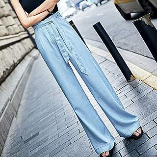Ouzhoub Pantalones Confort para Mujer, Las Mujeres de Cintura Alta Tencel Pantalones Vaqueros Mujer Pierna Ancha de los Pa...