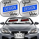 MSD Custom Windshield Sun Shade – Personalized Image or Text on Car Windshield Sunshade – Customize by Adding Your own Photo, Logo, or Message on Collapsible Auto Shades