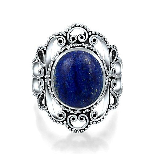 Bali Stil Filigrane Runde Boho Statement Blau Lapis Lazuli Edelstein Ring Für Frauen Für Teen 925 Sterling Silber