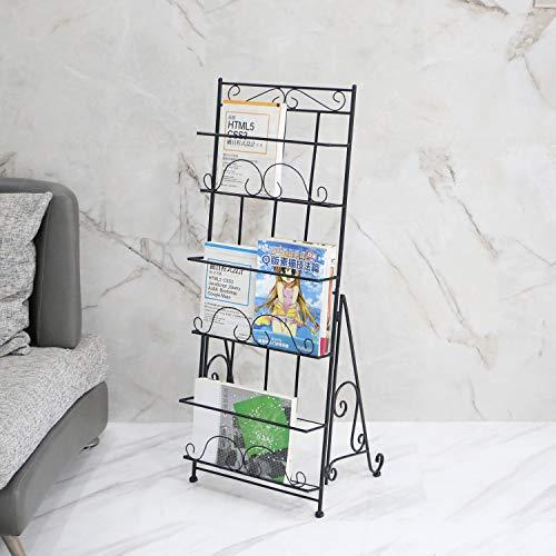 XJYBJF Soporte de pie para revistas, revistas, catálogo, portatarjetas de literatura, estante de metal de diseño elegante para el hogar, ferias, oficina y tienda al por menor