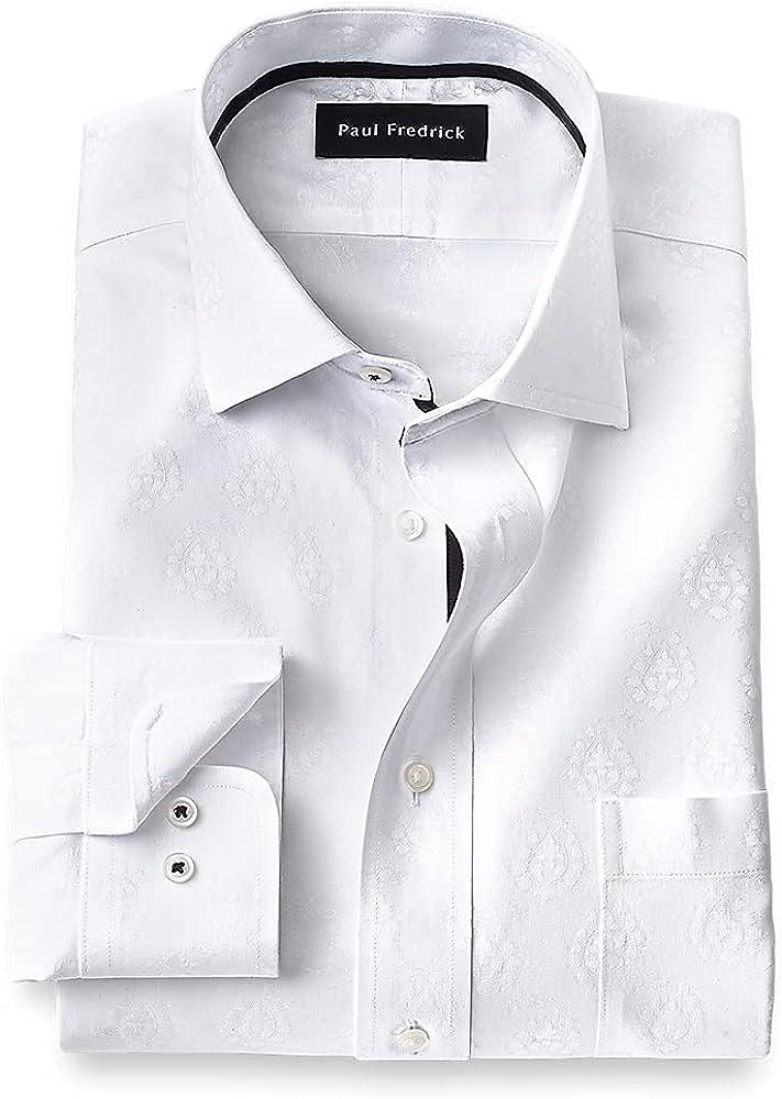 Paul Fredrick Men's Classic Fit Non-Iron Cotton Paisley Dress Shirt