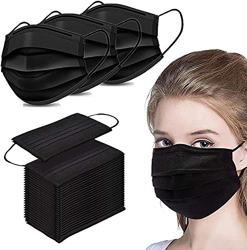 50pcs Black Disposable 3 Layer Face Mask Elastic Earloop Skincare, Black