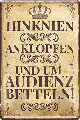 Blechschilder Lustiger Spruch Hinknien, Anklopfen und um Audienz Betteln! Deko Türschild Metallschild Schild Geschenkidee für Hauseingang