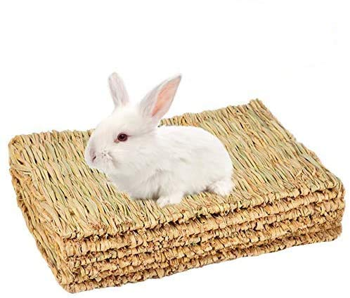 SWSTINLING 3 Pack Rabbit Bunny Mat, Natural Straw Woven Grass Bed Mat Chew Toy Bed for Small Animal Like Guinea Pig Parrot Rabbit Bunny Hamster