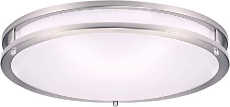 """OSTWIN 18"""" Flush Mount Ceiling Light Fixture, Brushed Nickel Finish, Dimmable, 28 Watt (150W Repl.) 3000K Warm Light, 2000 Lm, Nickel Finish with Acrylic Shade UL and Energy Star Listed"""