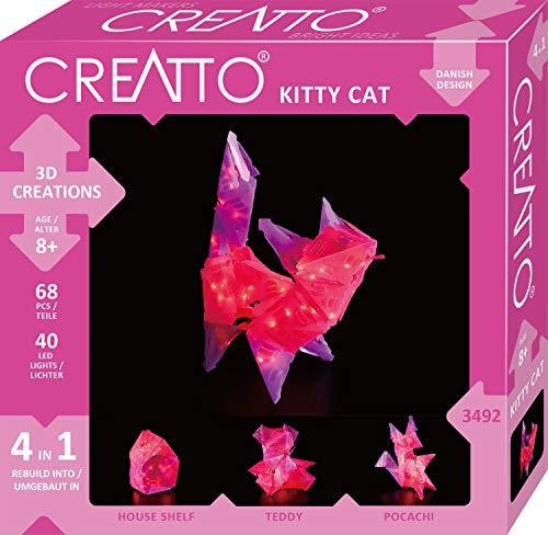 KOSMOS 03492 Creatto Katze, 3D-Leuchtfiguren entwerfen, Bastel Set für  Katze, Teddy, Hund oder Haus, gestalte deine individuelle Kinderzimmer-Deko, 68 Steckteile, 40-tlg. LED-Lichterkette, ab 8 Jahre