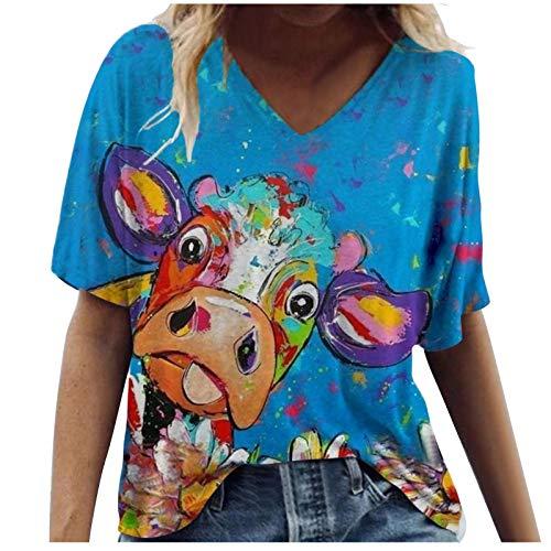 YAAY Camiseta casual de manga corta con cuello en V para mujer, divertida y linda vaca gato gráfico abstracto, estampado básico de verano