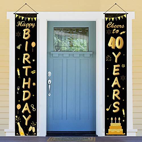 ANVAVA Letrero de 40 cumpleaños dorado con purpurina para decoración de fiestas de cumpleaños, cumpleaños, aniversario, celebración de fondo