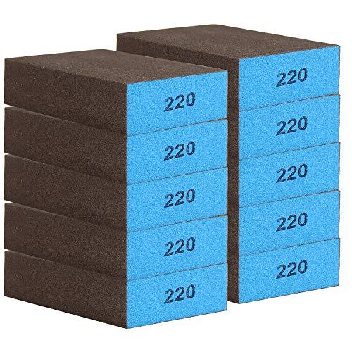 AMIGOB 10 piezas Esponja de Lijado Gruesas 220 para Usar en Chorreado de Arena Seco y Húmedo, Lavable y Reutilizable, 10x7x2.5cm