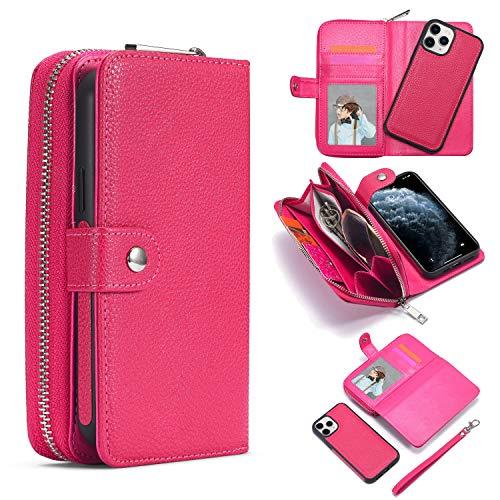 Brieftasche Hülle für iPhone 12 Pro, Litschi Magnetverschluss Abnehmbar [Reißverschlusstasche][Standfunktion][Kartenfach] PU Leder Weich TPU Schutzhülle mit Armband für iPhone 12 - Rosenrot
