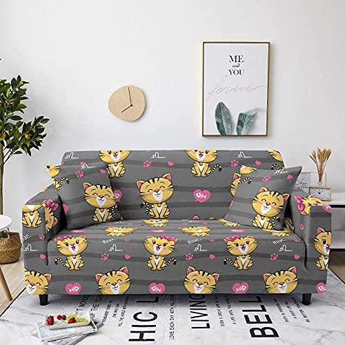 AHKGGM Funda de sofá Estampada Gato Animal Gris y Amarillo 4 plazas: 235-300cm