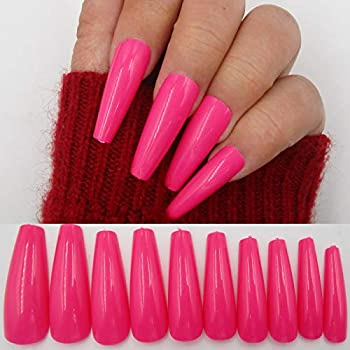100pc Colored Coffin Press on Nails Long Ballerina False Fake Nail Tips Rose Red Full Cover Manicure Design Acrylic Nails for Women Teen Girls  Rose Red