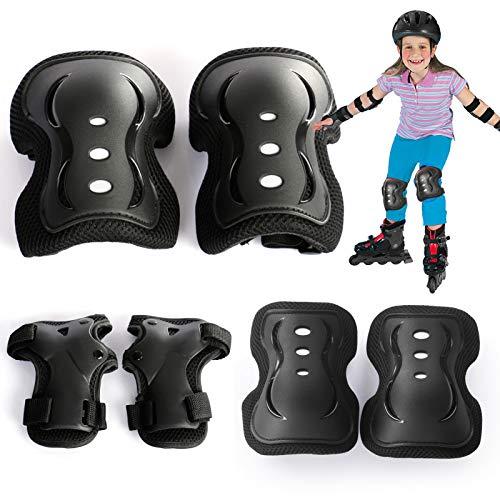 YUQIN Knieschützer Inliner Kinder, Kinder Knieschoner, Schützer Set, Schutzausrüstung Kinder, für den Skateboard Skating Fluggerät Knieschützer und Verschiedene Sportarten (Schwarz)
