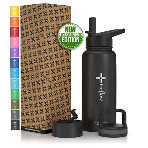 the flow Insulated Water Bottle Large 32oz Stainless Steel Hydro Vacuum Flask with Wide Mouth Straw Lid, Coffee Flip Lid and Carabiner, Double Wall Sports Travel Tumbler (Black, 32oz)