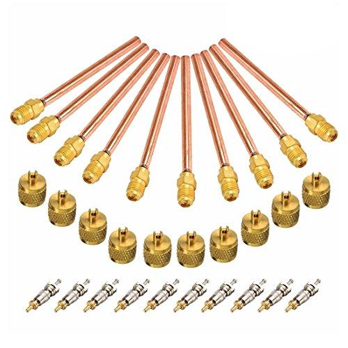TOOGOO 10 Vanne 1/4 Pouce SAE X 1/4 Pouce De Diamètre Extérieur X Tige De 4 Pouces Noyau AC Réfrigération