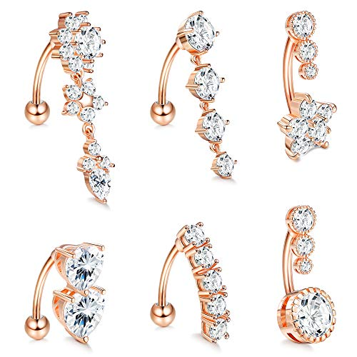 LOLIAS 6 Pcs 14G Dangle Belly Button Rings for Women 316L Surgical Steel Clear CZ Barbell Piercing Dangle Reverse Curved Navel Barbell Body Jewelry,RG
