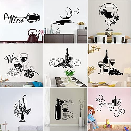PMSMT 25 Estilos Copa de Vino Vinilo Pegatinas de Pared Art Decal hogar Cocina decoración Bar Etiqueta de la Pared Regalo extraíble