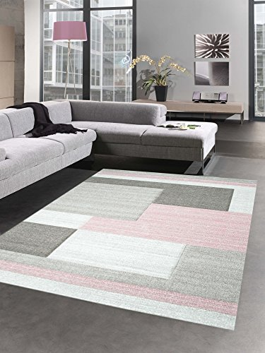 Modern tapis poil ras tapis de salon karo contour rose crème pastel brun taille 160x230 cm