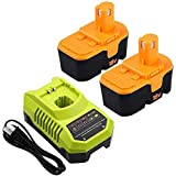 2 Pack P100 3.6Ah Ni-Mh Replacement for Ryobi 18V Battery with Charger + P117 Dual Chemistry 9.6V -18V Li-ion Ni-cad Ni-Mh Battery Charger for Ryobi P100 P101 P102 P103 P104 P105 P107 P108 P109