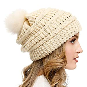 Vgogfly Slouchy Beanie for Women Winter Hats Knit Warm Skull Ski Cap Faux Fur Pom Pom Hat Warm Ski Baggy Cap