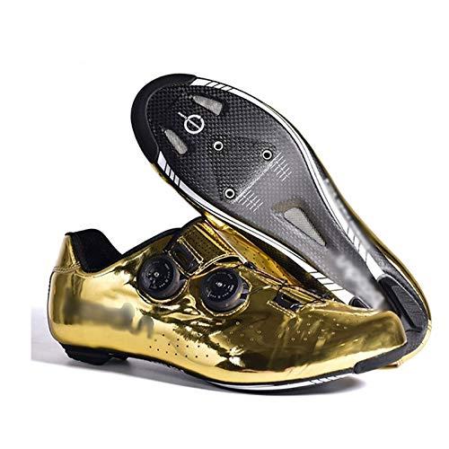 Road Bike Cycling Shoes Golden Carbon Sole Lock Shoes Breathable Non-Slip Bicycle Shoe Men Mountain Bike Shoe Women Cleats Cycle Shoes (Size : UK-6.5/EU40/US-7)