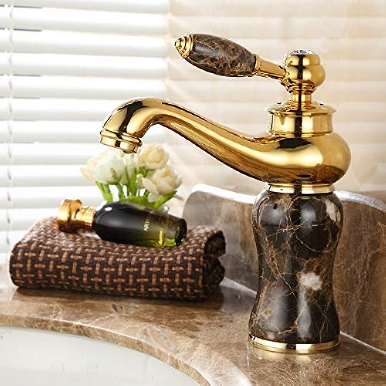 SEBAS Home Wasserhhne Wasserhahn Europischen Wasserhahn Warm Und Kalt Gold Marmor Wasserhahn Kupfer Waschbecken Becken Wasserhahn, Kaffee Jade