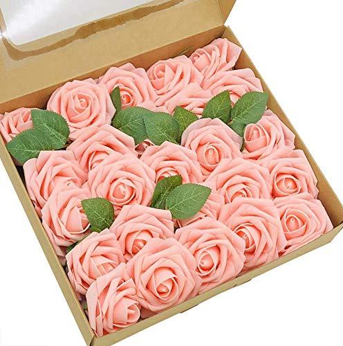 Ruiuzi Rosa Artificial Flor 25PCS Rosa Falsa Espuma Mirada Real con Hoja y Vástago Ajustable para Bricolaje Ramos de Boda Decoraciones para el Hogar Nupciales (Light Pink, 25pcs)