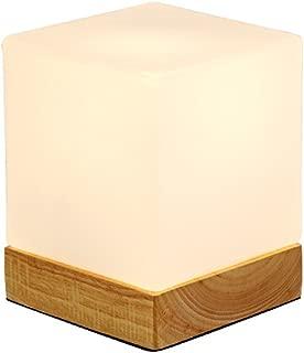 WSHFOR Dimmable Cube Glass Modern Wooden Table Lamp white with E27 Lamp base Oak bedside reading LED desk lamp