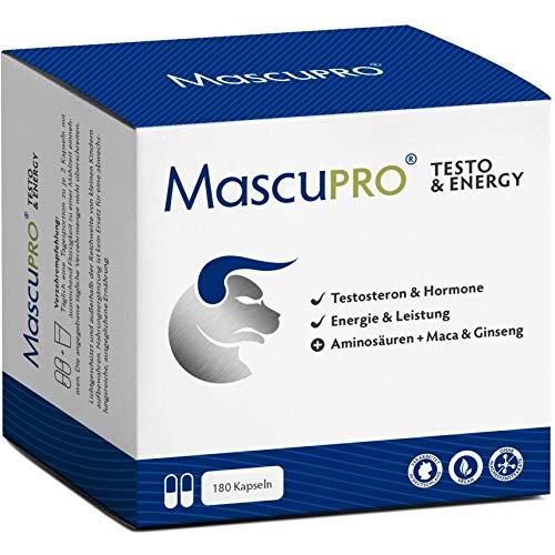 MASCUPRO® 180 hochdosierte TESTO Kapseln - Energie & Leistung + Ginseng Maca & Pinienrinde + L-Arginin & Citrullin - Premiumqualität