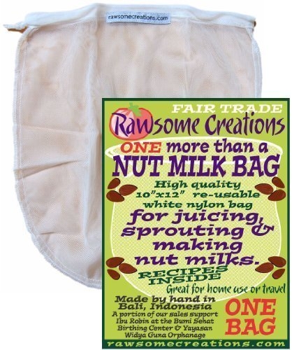 Rawsome Creations, More Than a Nut Milk Bag, Make Your Own Nut Milks, Single Bag
