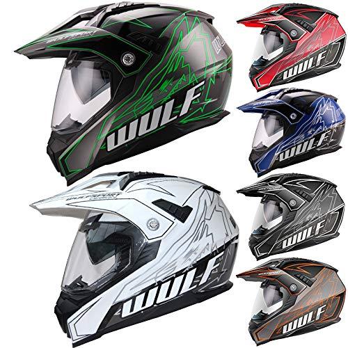 Wulfsport Adult Prima X Dual Double Visor Adventure Motocross Motorbike Helmet - Red L (59-60cm)