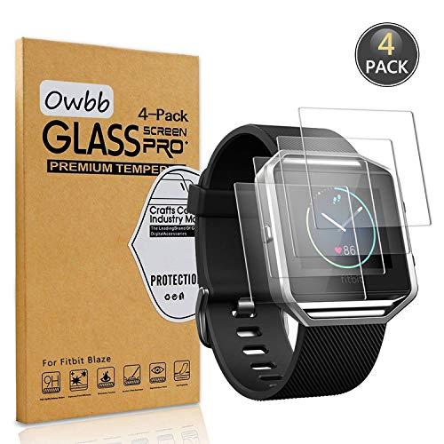 Owbb [4 Stück] Gehärtetes Glas Display Schutzfolie Für Fitbit Blaze Smartwatch Transparent Härte 9H High Definition Explosionsgeschützter Film