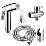 Konesky Toilet Handheld Bidet Spray Kit 304 Stainless Steel Toilet Handheld Showers Muslim Shattaf Cloth Diaper Sprayer for Rear Washing, Pet Bath, Washing Car, Water Flower, Toilet Cleaning
