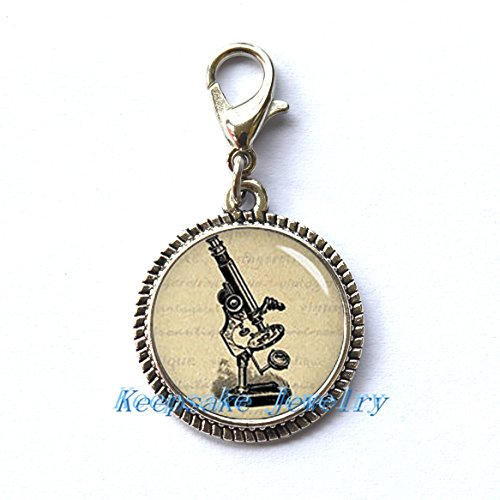 Microscope Zipper Pull,Perfect for Necklaces, Bracelets , keychain and earrings Charm Microscope handmade Jewelry-nu180