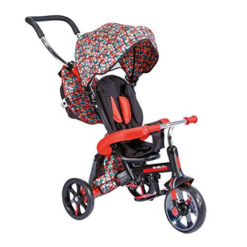 Y-Volution Mondo Toys – Triciclo Strolly Bike / Cochecito para niños – Manillar a presión, Cortina Parasol y Mochila portaobjetos – de 12 Meses hasta 3 años