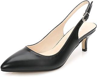 485e274397c054 Femme Chaussure à Talon Petite Escarpins Talon Aiguille Hauteur 6CM Bride  Arrière Travail Mariage PU Noir