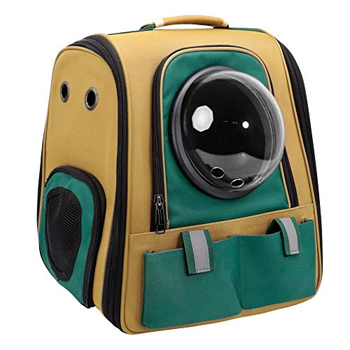 HUANGRONG Pet Cat Backpack Breathable Cat Carrier Outdoor Pet Shoulder Bag For Small Dogs Cats Space Capsule Astronaut Travel Bag Portable (Color : Green, Size : 38x26x40cm)
