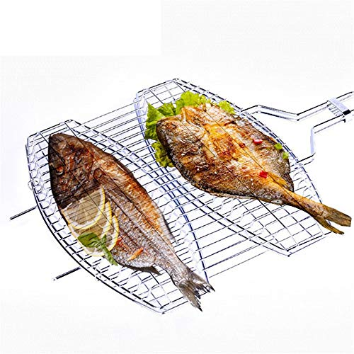 Lorenory 1 Stks RVS BBQ Grill Meshes Dubbele Vis Grill Mesh BBQ Accessoires Keuken Gadgets