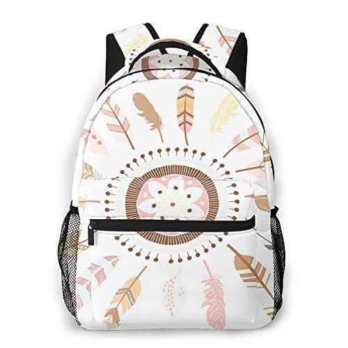 Laptop Rucksack Schulrucksack Federn Mandala, 14 Zoll Reise Daypack Wasserdicht für Arbeit Business Schule Männer Frauen